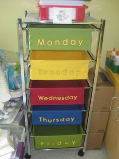 Lesson Plan (supplies for the week) organizer