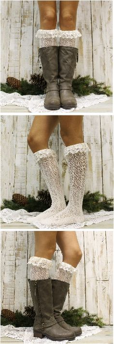 Lace boot socks by Catherine Cole Studio Boot socks for every boot style Made in USA lace socks Free shipping!