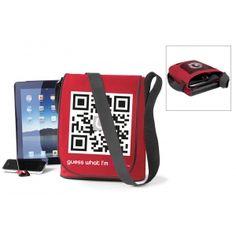 iPad shoulder bag with editable QR code