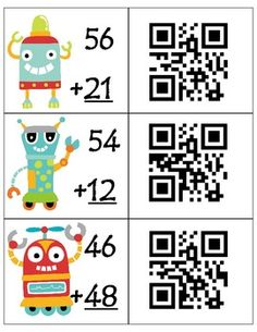 Students first complete the two-digit addition and subtraction problems (with and without regrouping), then check their answer by scanning the QR code that is on the card. Math Addition, Addition And Subtraction, Math Resources, Math Activities, Second Grade Math, Grade 2, Singapore Math, Math Intervention, Math Classroom