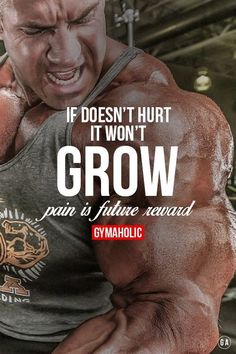 Daily fitness motivation in order to achieve your goals in the gym. Whether you want to build muscle or lose fat, we will help you. If it doesn't hurt it won't grow. Pain is future reward. Gym Motivation Quotes, Gym Quote, Body Motivation, Fitness Quotes, Workout Quotes, Workout Motivation, Muscle Fitness, Fitness Diet, Mens Fitness