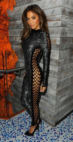nicole scherzinger / tight full body suit/ lace sides