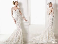 Pronovias 2015 Capricornio Gown -Romantic mermaid wedding dress with detachable tulle and lace skirt with gemstone embroidery