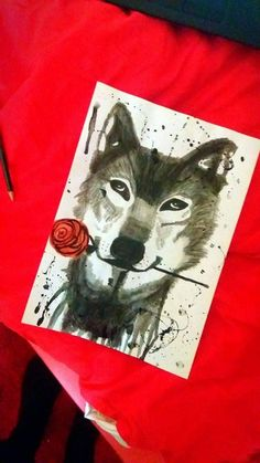 Wolf 'N' Roses drawing