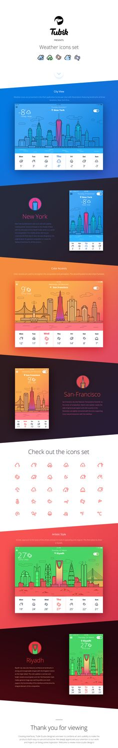 Hello!Today's presentation is devoted to the series of graphic assets on the weather topic. This is the set of three interfaces for an application presented in iPad and mobile versions. All of them present the set of weather icons created in Tubik Studi…