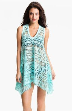 Robin Piccone 'Penelope' Crochet Kerchief Cover-Up Dress available at Nordstrom