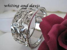 Whiting Davis Wide Silver Hinged Vintage Bangle Bracelet