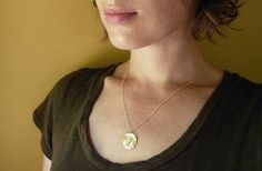 Gold Coin Necklace. Rustic Gold Athena Coin Necklace by roundabout