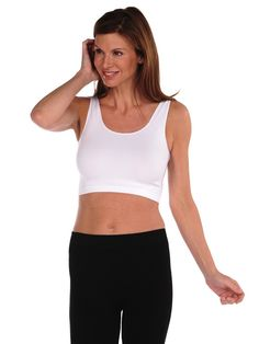 Tees by Tina Solid Crop Tank Top in White, OSFM