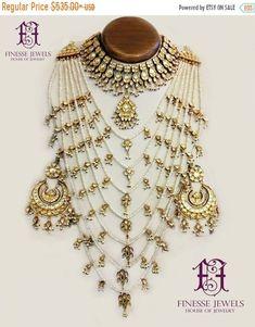 saath lada haar BUY OFF Silver Polki Jewelry Indian Jewelry Indian Bridal Indian Bridal Jewelry Sets, Indian Jewelry, Wedding Jewelry, Silver Jewelry, Fine Jewelry, Indian Necklace, Gold Jewellery, Silver Ring, Silver Earrings