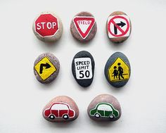 6 Road Signs and 2 Cars with Magnets, Traffic Symbols, Play for Magnetic Chalkboard, Gift Idea for Boy, Painted Beach Pebbles, Sea Stones