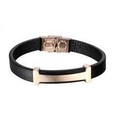 H Design Bracelet Luxury Style Rose Gold Tone Black Leather Bracelet Wristband