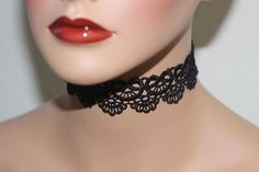 New Romantic Black Lace Tattoo Choker Necklace