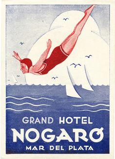 vintage poster featuring swimming