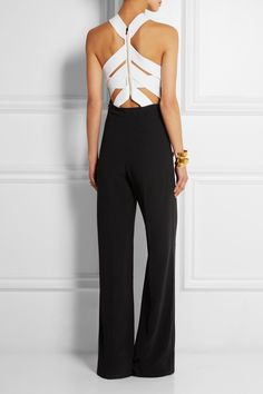 Roland Mouret | Shotwick two-tone stretch-crepe jumpsuit | NET-A-PORTER.COM