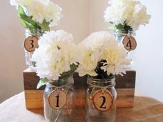 Rustic centerpiece mason jar w/table numbers