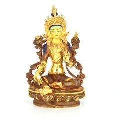 Gold Plated Dolma (Green Tara)- Goddess of compassion. Handmade in Nepal. Tara Goddess, Sculptures, Lion Sculpture, Green Tara, Making Out, Buddha, Mandala, Princess Zelda, Statue