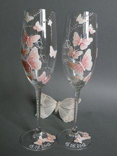 Mariage grillage flûtes Set de 2 personnalisé verres par pastinshs