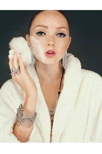 Lily Cole, powder, bathrobe, getting ready