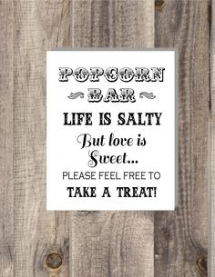 8x10 Instant Download Popcorn Bar Wedding by BordenSpecifics