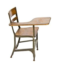 """late 1930's all original american industrial """"uhl art steel"""" stationary green enameled steel classroom chair desk with tablet arm configuration - toledo metal furniture co., toledo, oh."""
