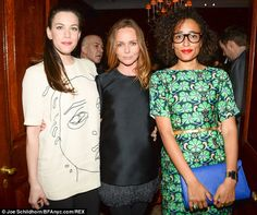 In good company: Author Zadie Smith, looking stunning in a green dress with a blue bag, jo...