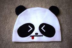 Angry Panda with Tongue Fleece Hat - Cosplay Cute Kawaii   HappiBoshi - Accessories on ArtFire