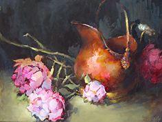 Pivoines et cuivres Pot par Ann Hardy Oil ~ 12 x 16Pivoines et cuivres Pot Huile sur toile de lin belge à bord 12 x 16 x 2 $ 900,00 USD disponibles