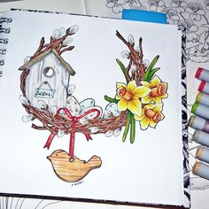"""6/8 theme of our drawing challenge- spring wreath  ---------------------- 6 тема #скетчмарафон_аромат_весны - весенний венок. Вот такой веночек """"из головы"""" набросался за полтора часа) А, тем временем, в скетчбуке осталось 2 странички под оставшиеся задания марафона и всеееее) #by4erta #topcreator #ilovesketchmarker #sketchmarkersclub #kartochka_etudesite #etudesite @etudesite.ru"""
