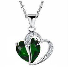 Fashion Women Heart Crystal Rhinestone Silver Chain Pendant Necklace Jewelry - https://barskydiamonds.com/necklaces/