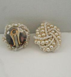 1960s pearl cluster vintage earrings