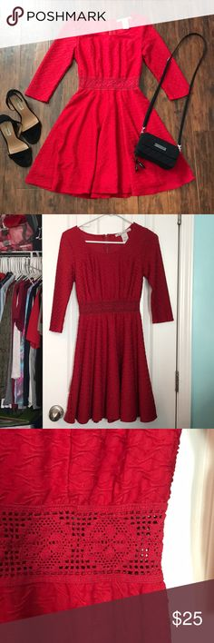 BOGO 1/2 OFF Red textured lace waist dress Red dress with textured design, lace waistline, and 3/4 length sleeves, super stretchy, great condition ✨make an offer!✨ feel free to comment if you have any questions 😊 ‼️ALL LISTINGS BUY ONE GET ONE HALF OFF❗️(of the two items, the less expensive item will be half off) just make a bundle and I'll re-price‼️ American Rag Dresses