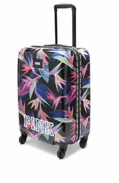 Victoria's Secret Pink Hard Shelled Tropical Print Wheelie,New Cute Luggage, Travel Luggage, Travel Uk, Luggage Sets, Cute Suitcases, Luggage Reviews, Girls Vacation, Travel Outfit Summer, Birthday Wishlist