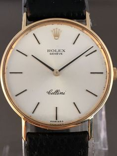 Rolex Cellini Geneva gold men's wristwatch - around the Fancy Watches, Vintage Watches For Men, Stylish Watches, Luxury Watches For Men, Cool Watches, Rolex Watches, Crown And Buckle, Rolex Cellini, Gold Rolex