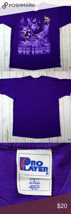 """VTG 90s Minnesota Vikings T-Shirt Men's Large Vintage 90s Minnesota Vikings T-Shirt Men's Large Graphic Viking NFL Pro Player  Brand:  Pro Player Size:     Men's Large Color:   Purple Material: 100% Cotton  Detailed Measurements: (Front Side of Garment has been measured laying flat on a table)  Sleeves:..............  9"""" inches Chest:................. 22"""" inches Length:…..........   29"""" inches  Used shape and well cared for, ships in 1 business day or less from a clean and smoke free…"""
