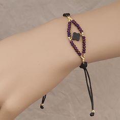 Handmade Black Bracelet With Purple Crystals - Anthos Crafts Handmade Bracelets, Earrings Handmade, Handmade Jewelry, Beaded Jewelry Patterns, Bracelet Patterns, Bracelet Crafts, Jewelry Crafts, Black Bracelets, Jewelry Bracelets