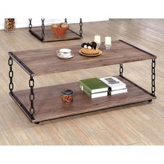 Create a living space with unparalleled style by placing this two-tone industrial inspired coffee table at the forefront. The chain links…