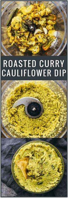 Roasted curry cauliflower dip, roasted cauliflower, appetizer, recipe, healthy, vegan, easy, party food, hummus via @savory_tooth