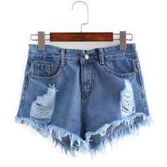 Ripped Raw Hem Denim Shorts (925 RUB) ❤ liked on Polyvore featuring shorts, bottoms, blue, destroyed shorts, distressed jean shorts, denim short shorts, blue jean shorts and destroyed denim shorts