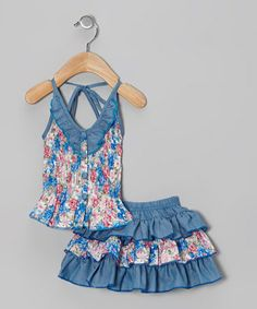 Another great find on #zulily! Blue Floral Halter Top & Skirt - Toddler & Girls #zulilyfinds