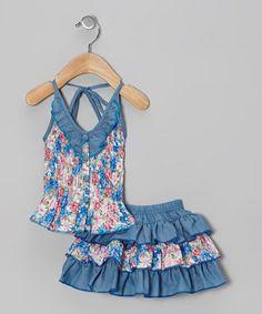 Another great find on #zulily! Blue Floral Halter Top & Skirt - Toddler & Girls #zulilyfinds