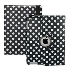 Ctech Black and White Polka Dot Pattern PU Leather Case For iPad 3 and iPad 2 With 360 Degrees Rotating Stand