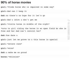 I'm not able to think of any that don't follow this pattern. WANTED: good horse movie