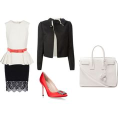 office lady by mutiazakiah on Polyvore featuring Alexander McQueen, Lanvin, RED Valentino, Manolo Blahnik and Yves Saint Laurent