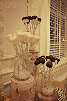 chocolate dipped marshmallows on kikkerland birch straws for hot chocolate bar - Kara's Domestic Life: winter wonderland party
