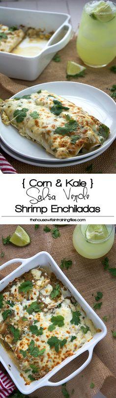 Shrimp enchiladas in a creamy salsa verde sauce lightened with greek yogurt, crisp corn, kale and creamy queso fresco