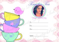 Time for tea Personalised Invitation, for any tea party or a special Kitchen Tea