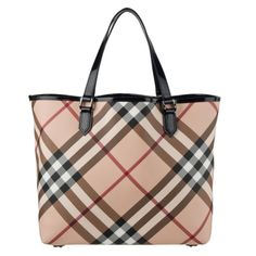 @Overstock - This classic Nova Nickie tote from Burberry features a chic print exterior with black patent leather trim. Gunmetal hardware and black canvas lining pull this designer bag together.http://www.overstock.com/Clothing-Shoes/Burberry-Nova-Nickie-Tote/7252315/product.html?CID=214117 $599.99