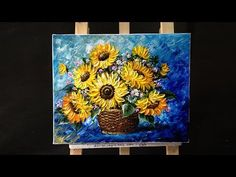 How to paint sunflower with acrylic paint using a palette knife - YouTube