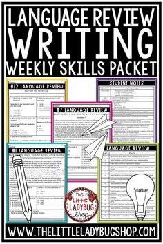 Grow your writers with Set #1: Language Weekly Practice: This packet is created with students in 3rd & 4th Grade in mind, however it is a great review packet for students in 5th grade. This is a 16 week packet perfect for writing centers, review, morning work, homework, test prep & more. #grammarreview #languageskillpractice #grammarworksheets